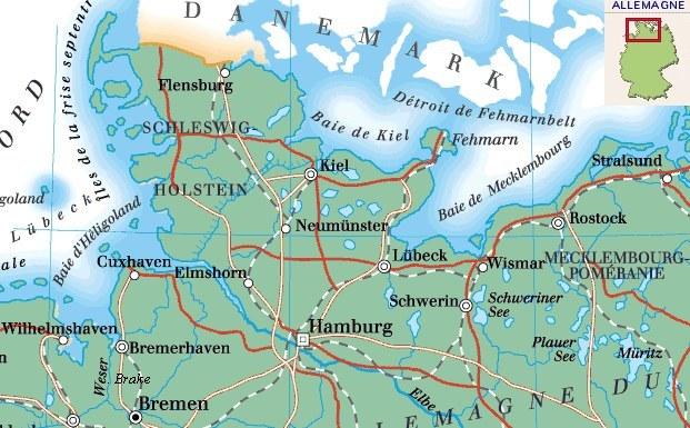 Carte Allemagne Kiel.Kiel